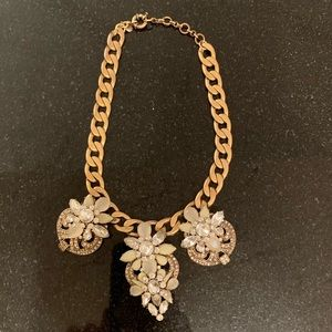 J Crew Rhinestone and Gold Statement Necklace!